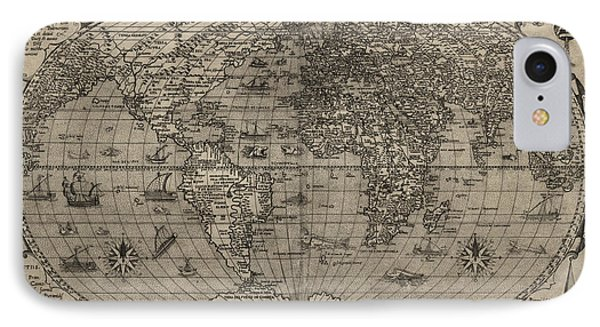 Antique Map Of The World By Paolo Forlani - 1560 IPhone Case