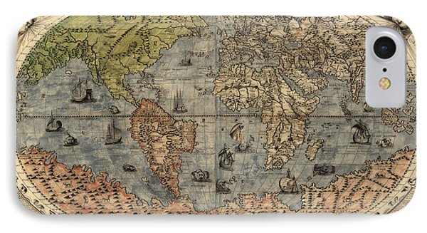 Antique Map Of The World By Paolo Forlani - 1565 IPhone Case