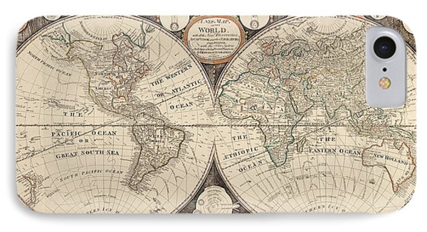 Antique Map Of The World By Thomas Kitchen - 1799 IPhone Case by Blue Monocle