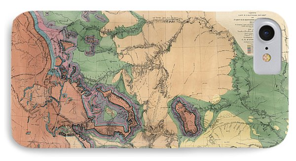 Antique Map Of The Yellowstone And Missouri Rivers By F. V. Hayden - 1869 IPhone Case by Blue Monocle