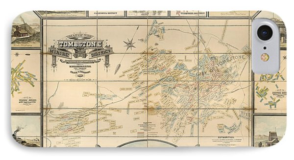 Antique Map Of Tombstone Arizona By Frank S. Ingoldsby - 1881 IPhone Case
