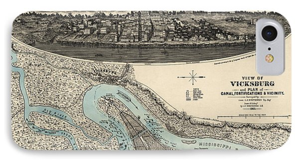 Antique Map Of Vicksburg Mississippi By L. A. Wrotnowski - 1863 IPhone Case by Blue Monocle