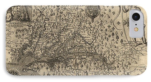Antique Map Of Virginia And Maryland By John Smith - 1624 IPhone Case by Blue Monocle