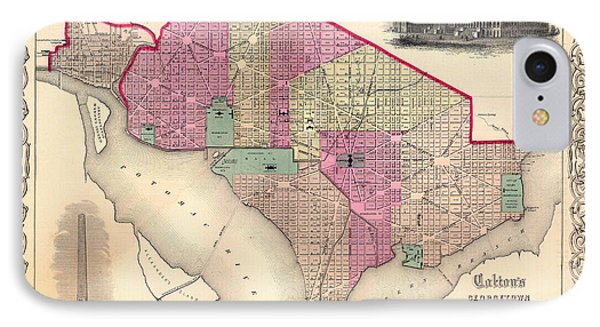 Antique Map Of Washington D C 1855 IPhone Case by Mountain Dreams