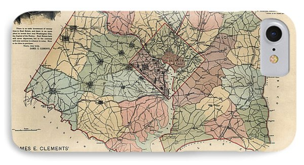 Antique Map Of Washington Dc By Andrew B. Graham - 1891 IPhone Case by Blue Monocle