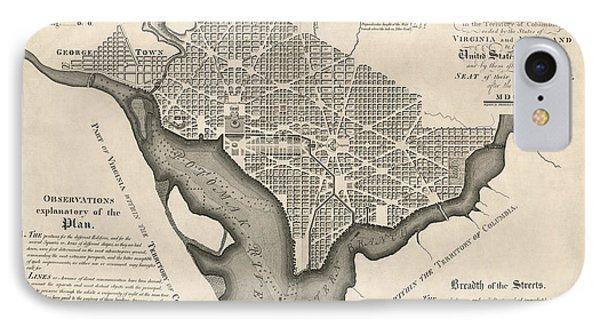 Antique Map Of Washington Dc By Andrew Ellicott - 1792 IPhone Case