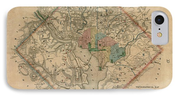 Antique Map Of Washington Dc By Colton And Co - 1862 IPhone Case by Blue Monocle