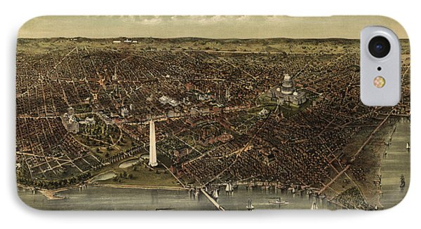Antique Map Of Washington Dc By Currier And Ives - Circa 1892 IPhone Case by Blue Monocle