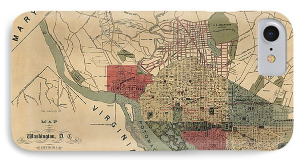 Antique Map Of Washington Dc By R. E. Whitman - 1887 IPhone Case