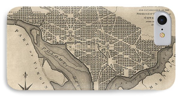 Antique Map Of Washington Dc By William Bent - 1793 IPhone Case