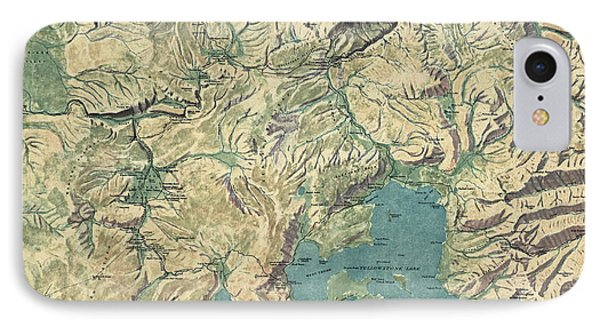 IPhone Case featuring the drawing Antique Map Of Yellowstone National Park By The Usgs - 1915 by Blue Monocle