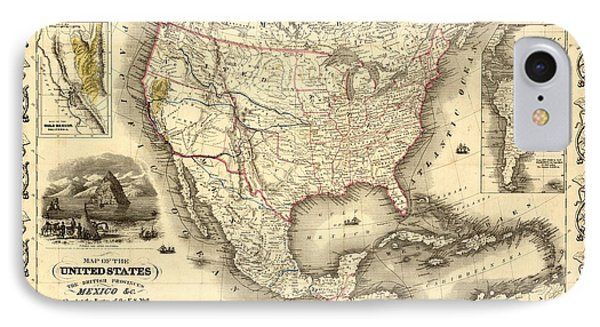 Antique North America Map IPhone Case