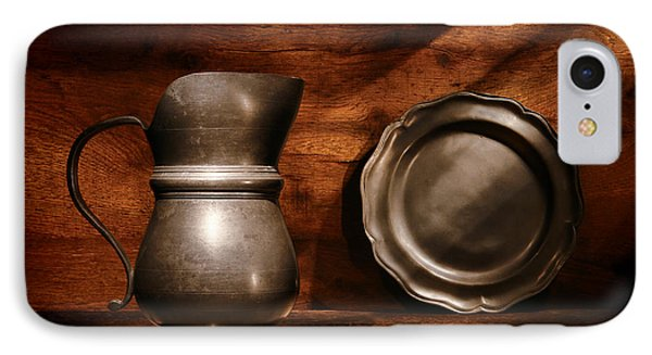 Antique Pewter Pitcher And Plate IPhone Case