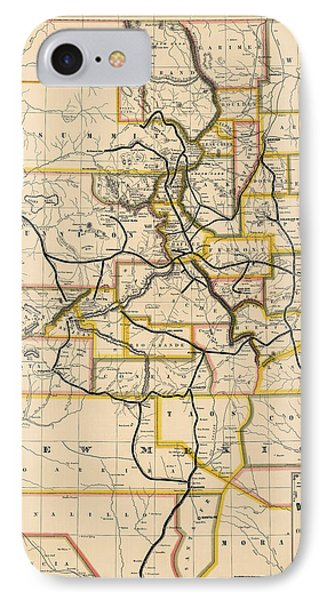 Antique Railroad Map Of Colorado And New Mexico By S. W. Eccles - 1881 IPhone Case by Blue Monocle