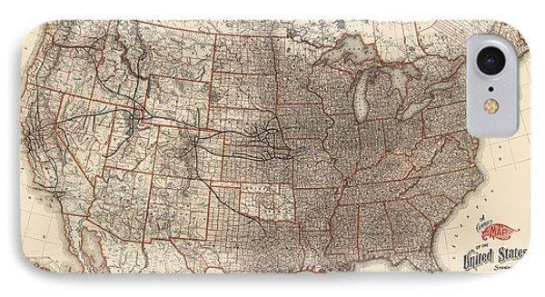 Antique Railroad Map Of The United States - Union Pacific - 1892 IPhone Case by Blue Monocle