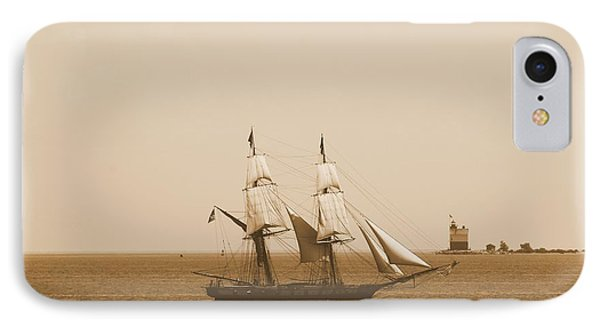 Antique Sailing Ship And Lighthouse IPhone Case by Dan Sproul