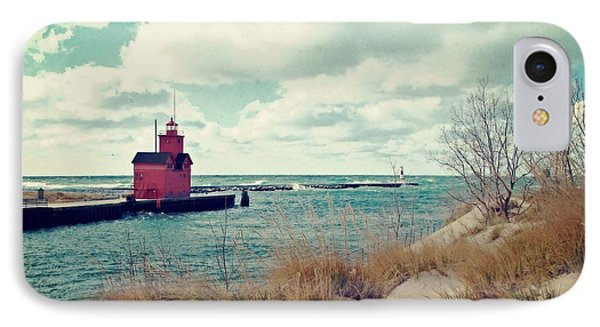 Antique Snapshot Series - Big Red IPhone Case by Michelle Calkins