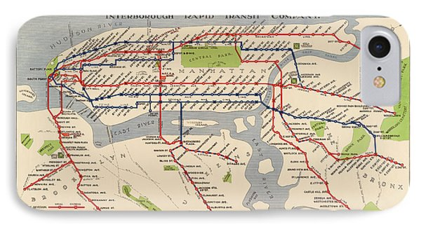 Antique Subway Map Of New York City - 1924 IPhone Case by Blue Monocle