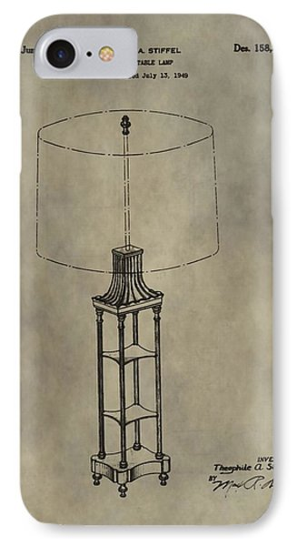 Antique Table Lamp Patent IPhone Case by Dan Sproul