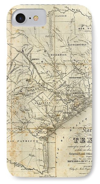 Antique Texas Map 1841 IPhone Case by Dan Sproul
