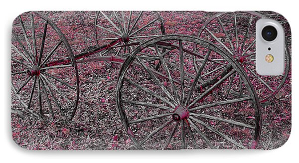 IPhone Case featuring the photograph Antique Wagon Wheels by Sherman Perry