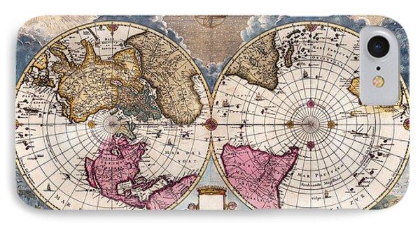 Antique World Map 1695 Novus Planiglobii Terrestris Per Utrumque Polum Conspectus IPhone Case by Karon Melillo DeVega