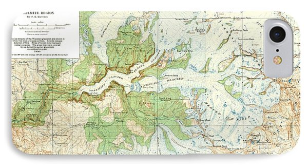 Antique Yosemite National Park Map IPhone Case by Dan Sproul