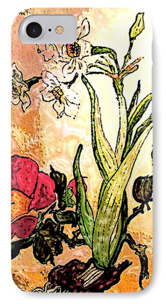 Antiqued Floral Watercolor Painting IPhone Case by Merton Allen