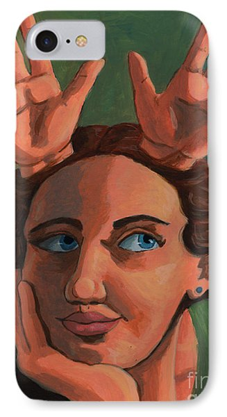 Antlered Girl IPhone Case by Whitney Morton