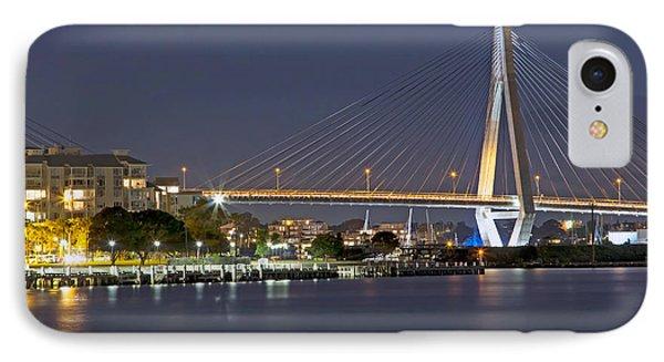 Anzac Bridge By Night IPhone Case by Nicholas Blackwell