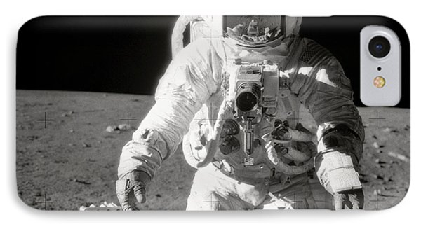 Apollo 12 Moonwalk - 1969 IPhone Case by World Art Prints And Designs