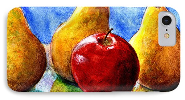 IPhone Case featuring the painting Apple And Three Pears Still Life by Lenora  De Lude