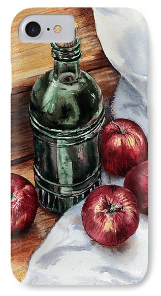 IPhone Case featuring the painting Apples And A Bottle Of Liqueur by Joey Agbayani