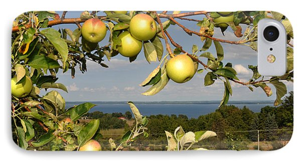 Apples Over Grand Traverse Bay IPhone Case by Diane Lent