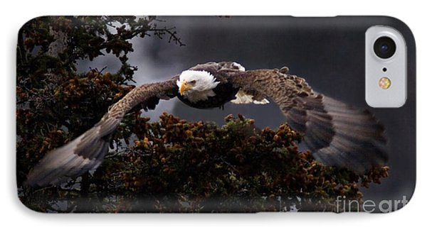 Approaching Eagle-signed- IPhone Case by J L Woody Wooden