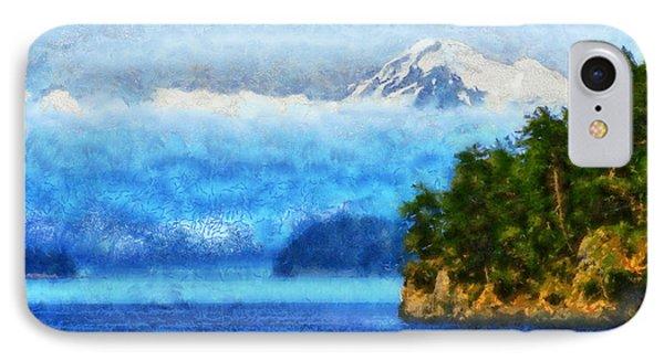 IPhone Case featuring the digital art Approaching San Juan Island Washington by Kaylee Mason