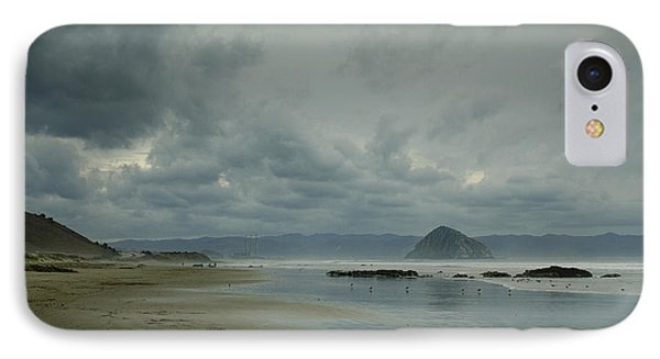 Approaching Storm - Morro Rock IPhone Case by Terry Garvin