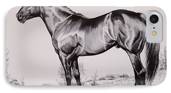 Aqha Stallion Driftwood IPhone Case by Cheryl Poland