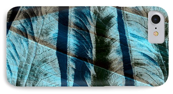 Aqua And Brown Leaf Montage Phone Case by Bonnie Bruno