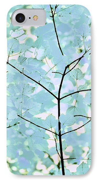 Aqua Blues Greens Leaves Melody Phone Case by Jennie Marie Schell