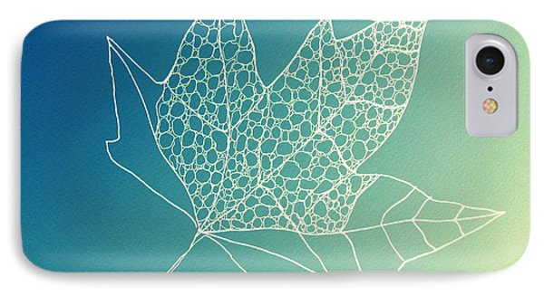 Aqua Leaf Study 2 IPhone Case by Cathy Jacobs