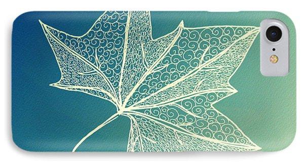 Aqua Leaf Study 3 IPhone Case by Cathy Jacobs