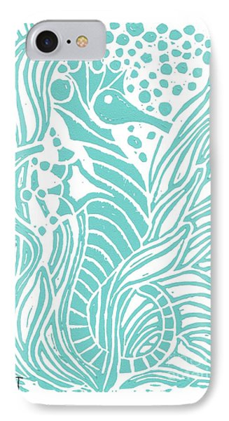 Aqua Seahorse IPhone Case by Stephanie Troxell