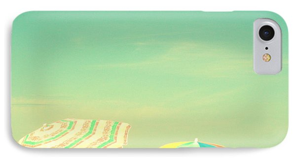 Aqua Sky With Umbrellas IPhone Case by Valerie Reeves