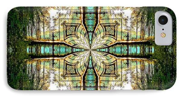 Kaleidoscope Aqua Sunrise IPhone Case by Julia Hassett