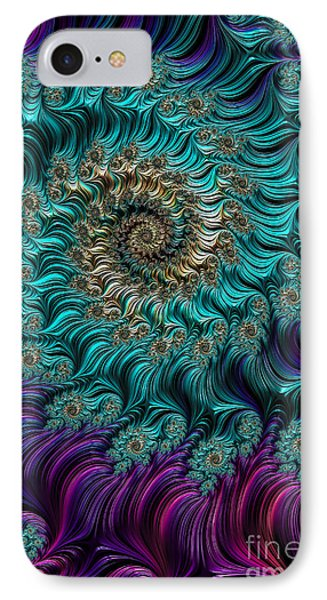 Aqua Swirl IPhone Case by Steve Purnell