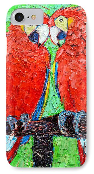 Ara Love A Moment Of Tenderness Between Two Scarlet Macaw Parrots IPhone Case by Ana Maria Edulescu