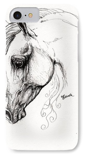 Arabian Horse Drawing 15 Phone Case by Angel  Tarantella