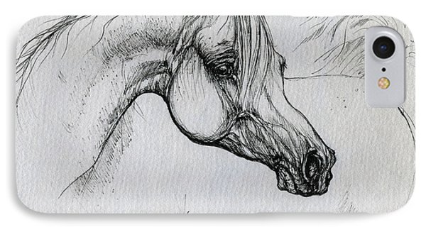 Arabian Horse Drawing 28 Phone Case by Angel  Tarantella