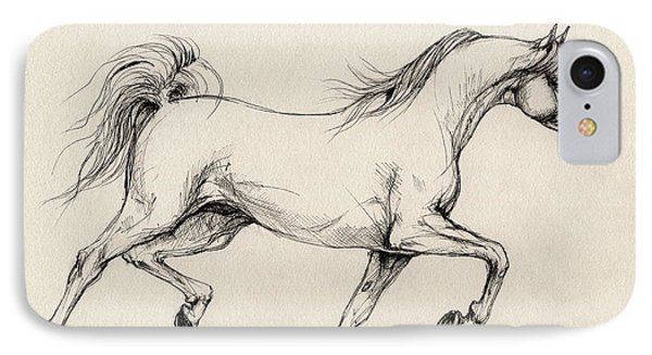Arabian Horse Drawing 31 Phone Case by Angel  Tarantella